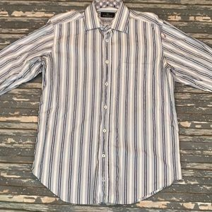 🔥 Bugatchi mens L blue striped button up shirt